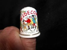 COLLECTABLE GILDED CHINA THIMBLE LAMBERT SOUVENIRS WIDDECOMBE FAIR POEM